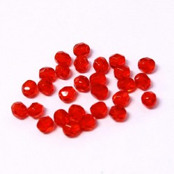Ohňovky broušené 4mm 50ks jahodově červená