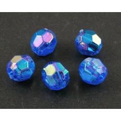 Korálky broušené plast 6mm 30ks modrá s AB