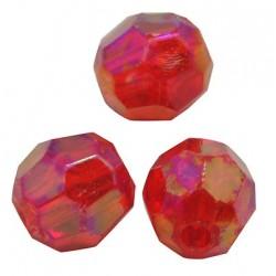 Korálky broušené plast 6mm 30ks červená s AB