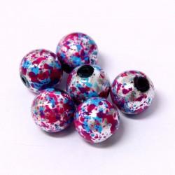 Korálky skleněné 12mm 6ks růžovo-modré vzorované