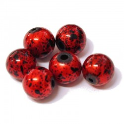 Korálky skleněné 12mm 6ks červeno-černé vzorované
