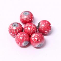 Korálky skleněné 10mm 10ks růžovo-stříbrné vzorované