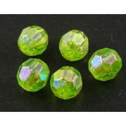 Korálky broušené plast 6mm 30ks zelená světlá s AB
