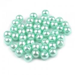 Voskované perličky plast 6mm 50ks tyrkysová světlá