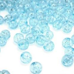 Korálky práskané plast 8mm 20ks modrá světla