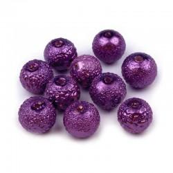 Voskované perle vroubkované 8mm 20ks fialová