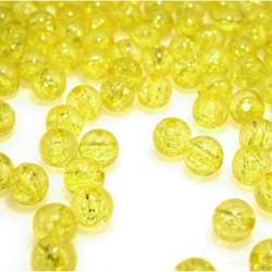 Korálky práskané plast 8mm 20ks žlutá