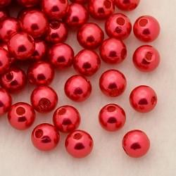 Voskované perličky plast 4mm 100ks červená