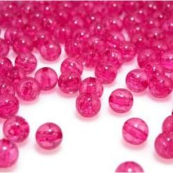 Korálky práskané plast 8mm 20ks růžová