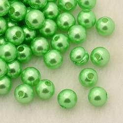 Voskované perličky plast 4mm 100ks zelená světlá