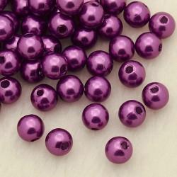 Voskované perličky plast 4mm 100ks fialová