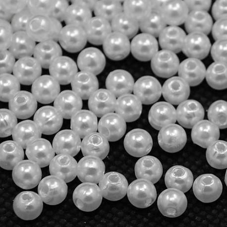 Voskované perličky plast 3mm 200ks bílá