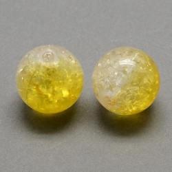 Korálky práskané plast 8mm 20ks žlutá, průhledná