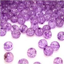Korálky práskané plast 8mm 20ks fialová