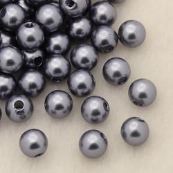 Voskované perličky plast 4mm 100ks šedá