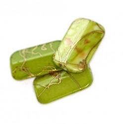Korálky plastové 18x11mm 10ks zeleno-zlatá