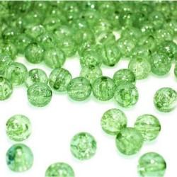 Korálky práskané plast 8mm 20ks zelená