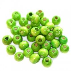 Korálky dřevěné 7x8mm 25ks zelená