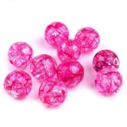 Korálky práskané plast 12mm 8ks růžová