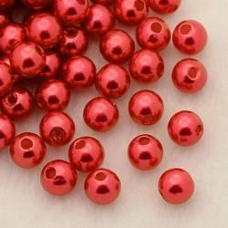 Voskované perličky plast 5mm 100ks červená jahodová
