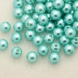 Voskované perličky plast 5mm 100ks tyrkysová světlá
