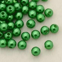 Voskované perličky plast 5mm 100ks zelená