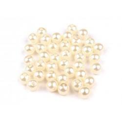 Voskované perličky plast 6mm 50ks perlová