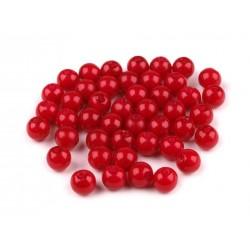 Voskované perličky plast 6mm 50ks červená sytá
