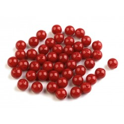 Voskované perličky plast 8mm 20ks červená sytá