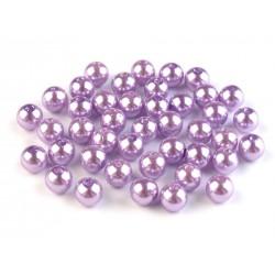 Voskované perličky plast 8mm 20ks fialková světlá