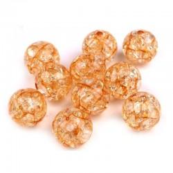 Korálky práskané plast 12mm 8ks oranžová
