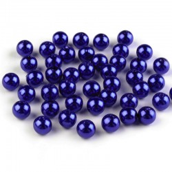 Voskované perličky plast 8mm 20ks modrá berlínská