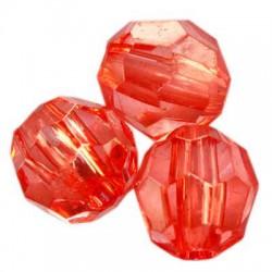Korálky broušené plast 10mm 20ks červená