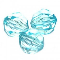Korálky broušené plast 10mm 20ks modrá