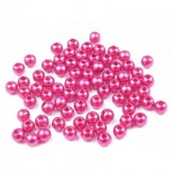 Voskované perličky plast 5mm 100ks malinová