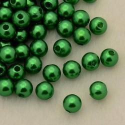 Voskované perličky plast 5mm 100ks zelená tmavá