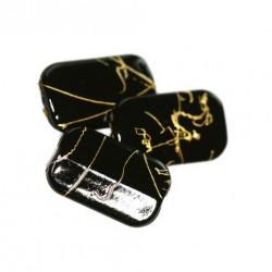 Korálky plastové 18x11mm 10ks černo-zlatá