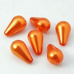 Korálky plast voskované 10x6 mm 30ks oranžová