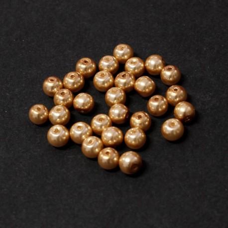 Voskované perle 6mm 30ks karamelová