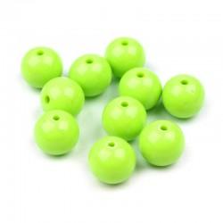 Korálky plastové 10mm 15ks zelená