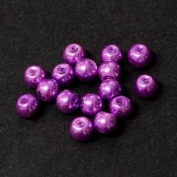 Voskované perle 6mm 30ks fialová vřesová