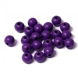 Korálky dřevěné 6mm 50ks fialová
