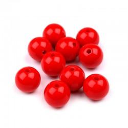 Korálky plastové 10mm 15ks červená