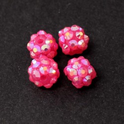 Šatonové korálky plast 10mm 4ks růžová