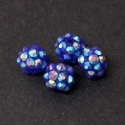 Šatonové korálky plast 10mm 4ks modrá tmavá