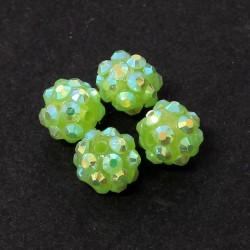 Šatonové korálky plast 10mm 4ks zelená světlá