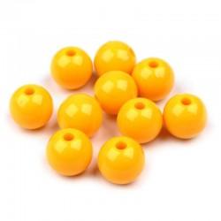 Korálky plastové 10mm 15ks žlutá