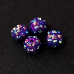 Šatonové korálky plast 10mm 4ks fialová