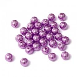 Voskované perličky plast 6mm 50ks fialová