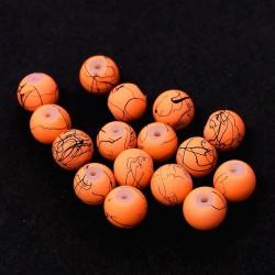 Korálky skleněné cákané 8mm 20ks oranžová matná